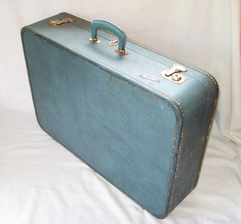 "Room Decor - Vintage Monarch Large Blue Suitcase Luggage Travel 26.5"" x 18"" #Monarch"