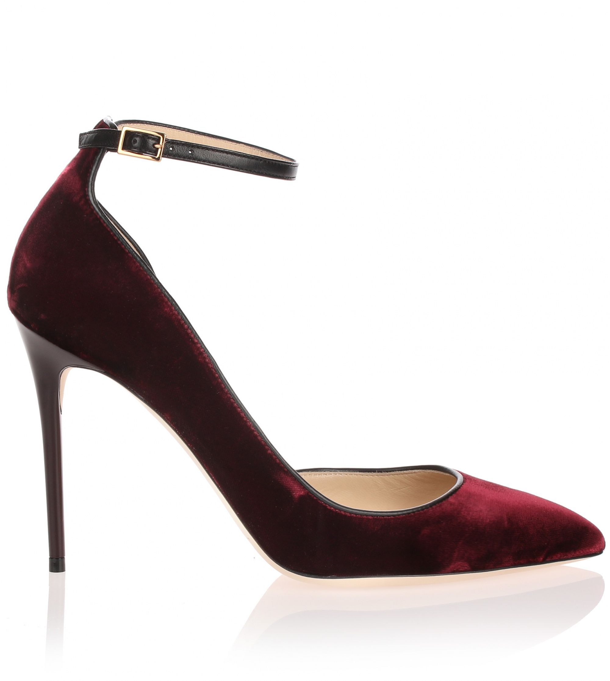 Burgundy velvet d'Orsay pump from Jimmy Choo. The Lucy has a 100mm stiletto heel, an adjustable ankle strap, and a pointed toe.True to sizeLeather soleMade in ItalyDesigner colour: Bordeaux