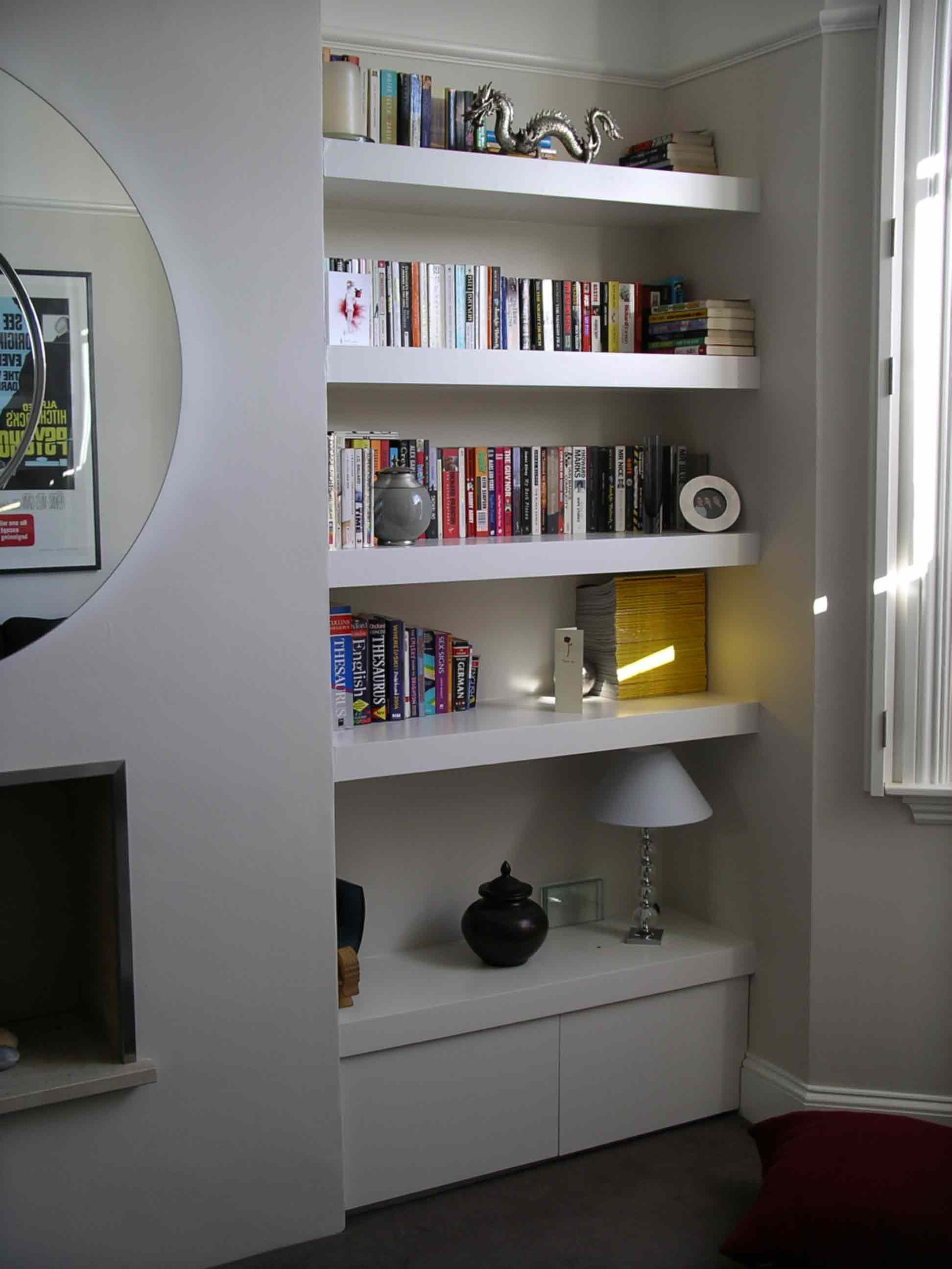 Alcove cupboard with floating shelves my home pinterest alcove cupboards and alcove - Living room multi use shelf idea ...