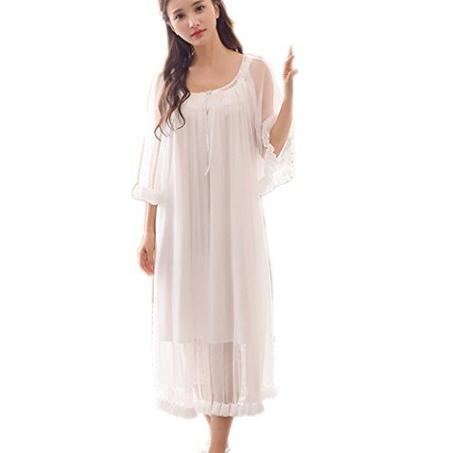 Singingqueen Womens Sexy Vintage Loungedress Nightgown 2 pcs Victorian  Sleepwear Nightshirt Girls Pajamas 572a20550