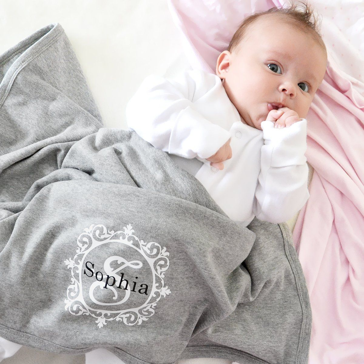 Personalised initial baby name blanket gorgegous grey pink or white personalised initial baby name blanket gorgegous grey pink or white new baby blanket personalised with their negle Image collections