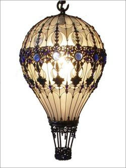 Design Steampunk Lamp Light Bulbs Hot Air Balloon Upcycled Steam Punk Recycled Art Tendencies