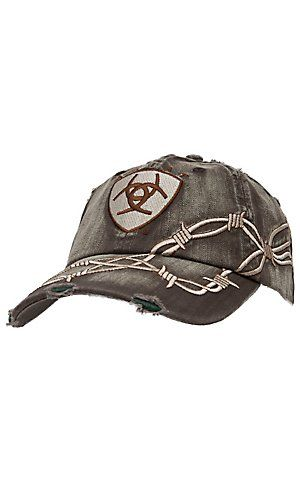 a2d00480d05 Ariat® Distressed Brown with Barbwire Embroidery Logo Cap