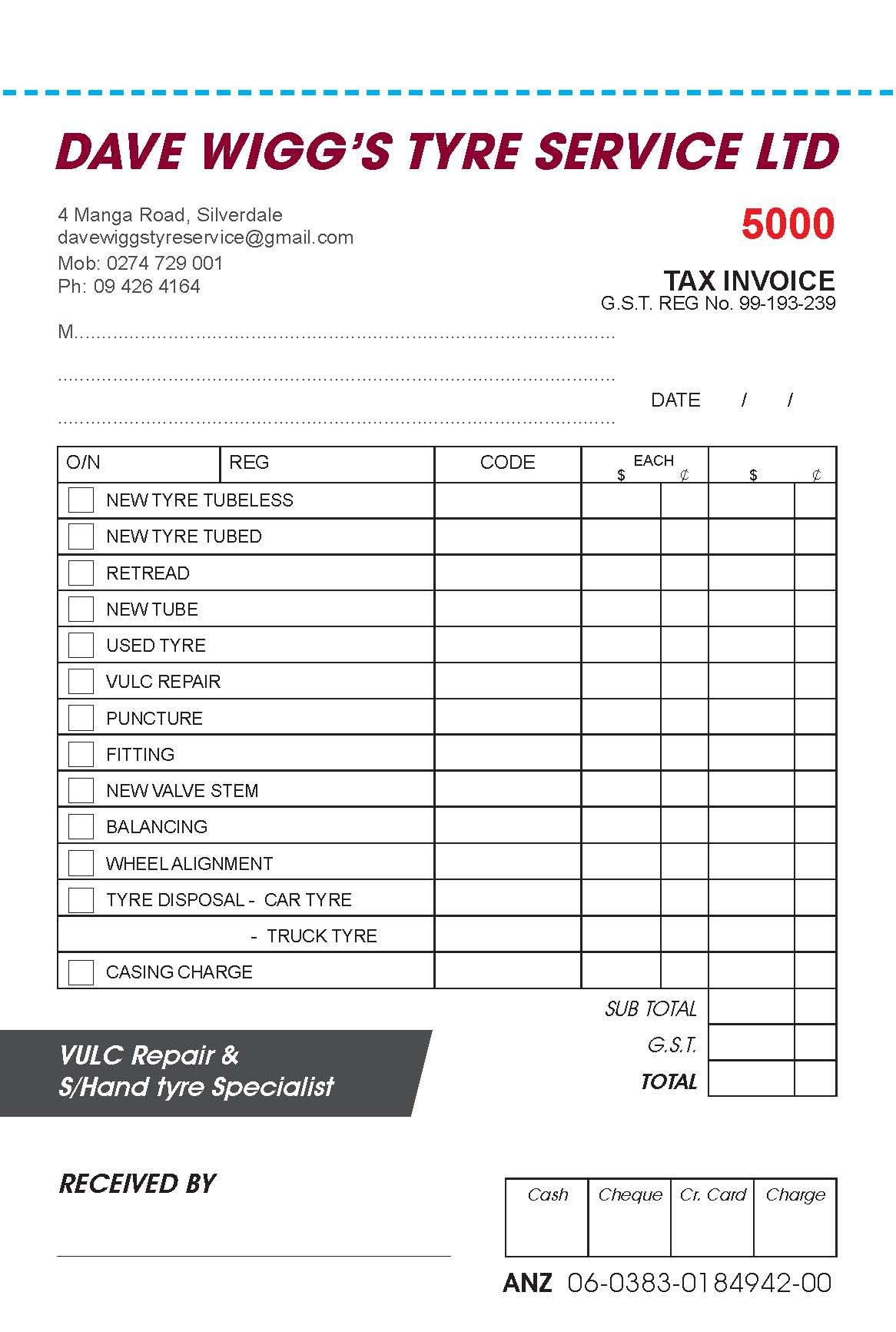 New Invoice Book For Dave Wigg Tyres Some Work Examples Pinterest - Work invoice book