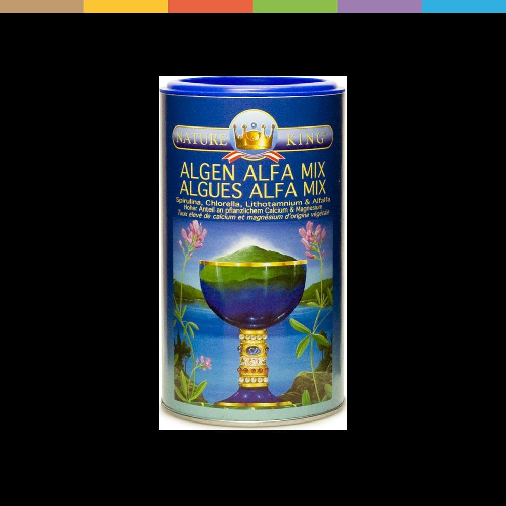 Bio King Algen Alfa Mix  Bio King Algen Alfa Mix  Das Algen Alfa Mix Pulver enthält die Kombination aus Spirulina, Chlorella, Lithotamnium und Alfalfa. Algen Alfa Mix Pulver enthält eine ideale Kombination pflanzlicher Eiweisse und ist deshalb eine sinnvolle Ergänzung bei vegetarischer Kost.  Hersteller BioKing Philipp Loicht Achenfeldweg 8 AT-6250 Kundl.