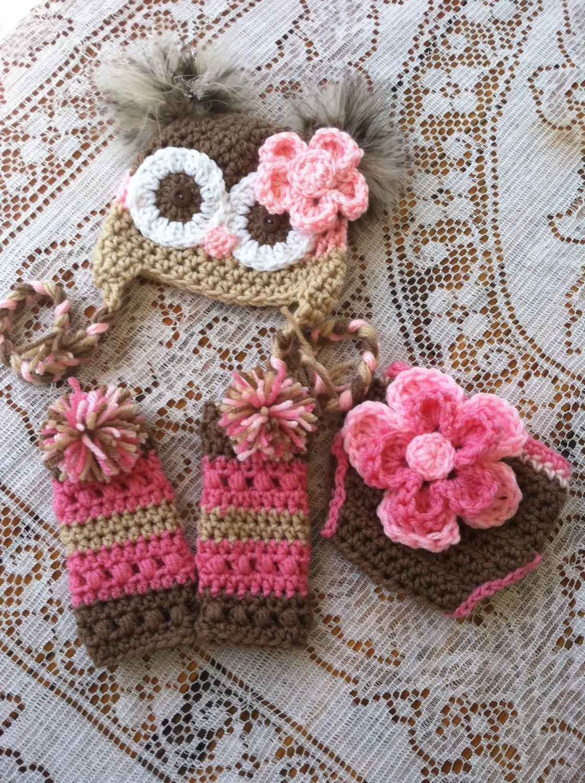 Newborn owl hat diaper cover and leg warmers | Stricken für baby ...