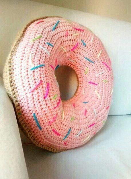 Donut Pillow Doughnut Pink Glaze With Sprinkles Cushion