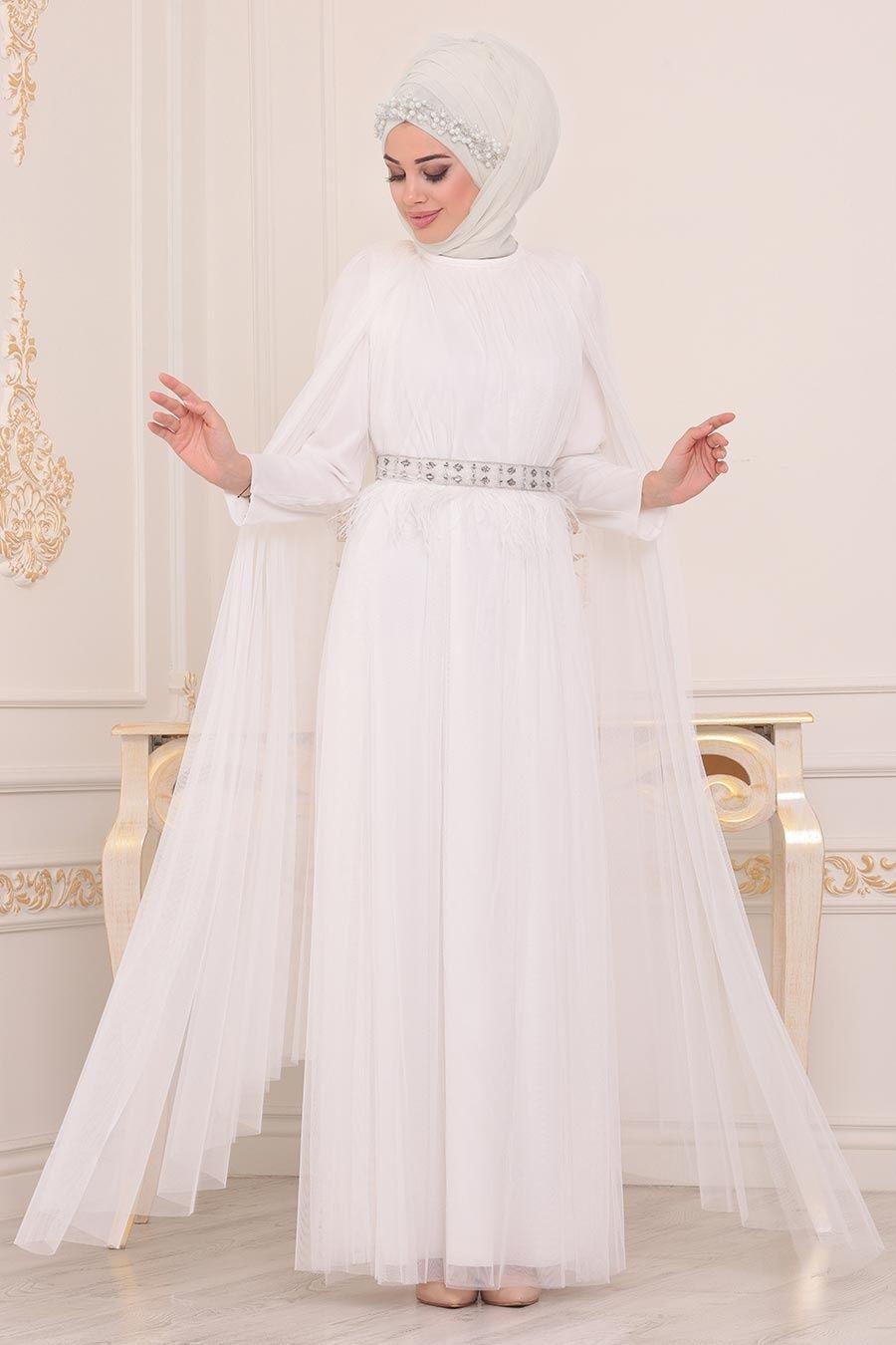 Tesetturlu Abiye Elbise Pelerinli Ekru Tesettur Abiye Elbise 3906e The Dress Moda Stilleri Elbise