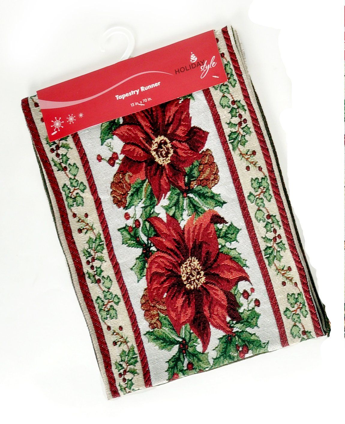 Decorate your holiday table with this elegant Christmas Tapestry Table Runner…