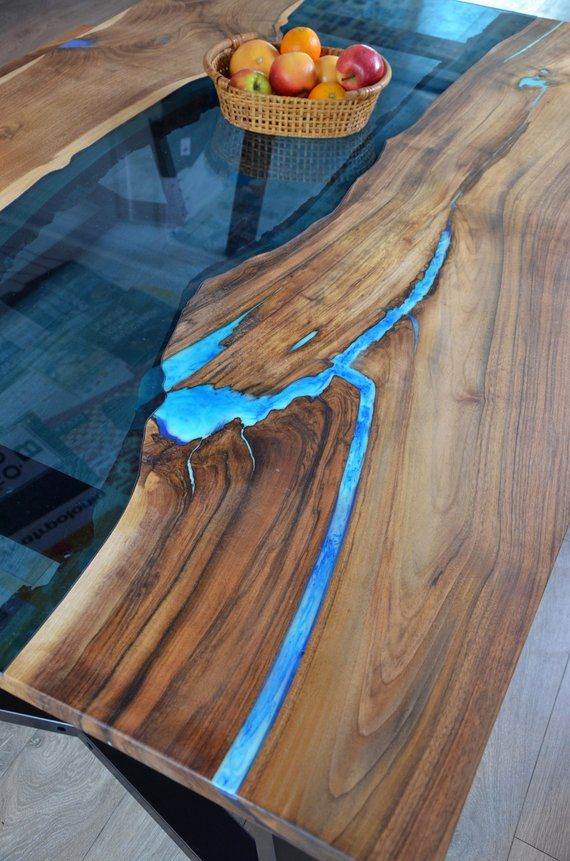 Live Edge River Dining Table With Bench And Glowing Resin Fill In