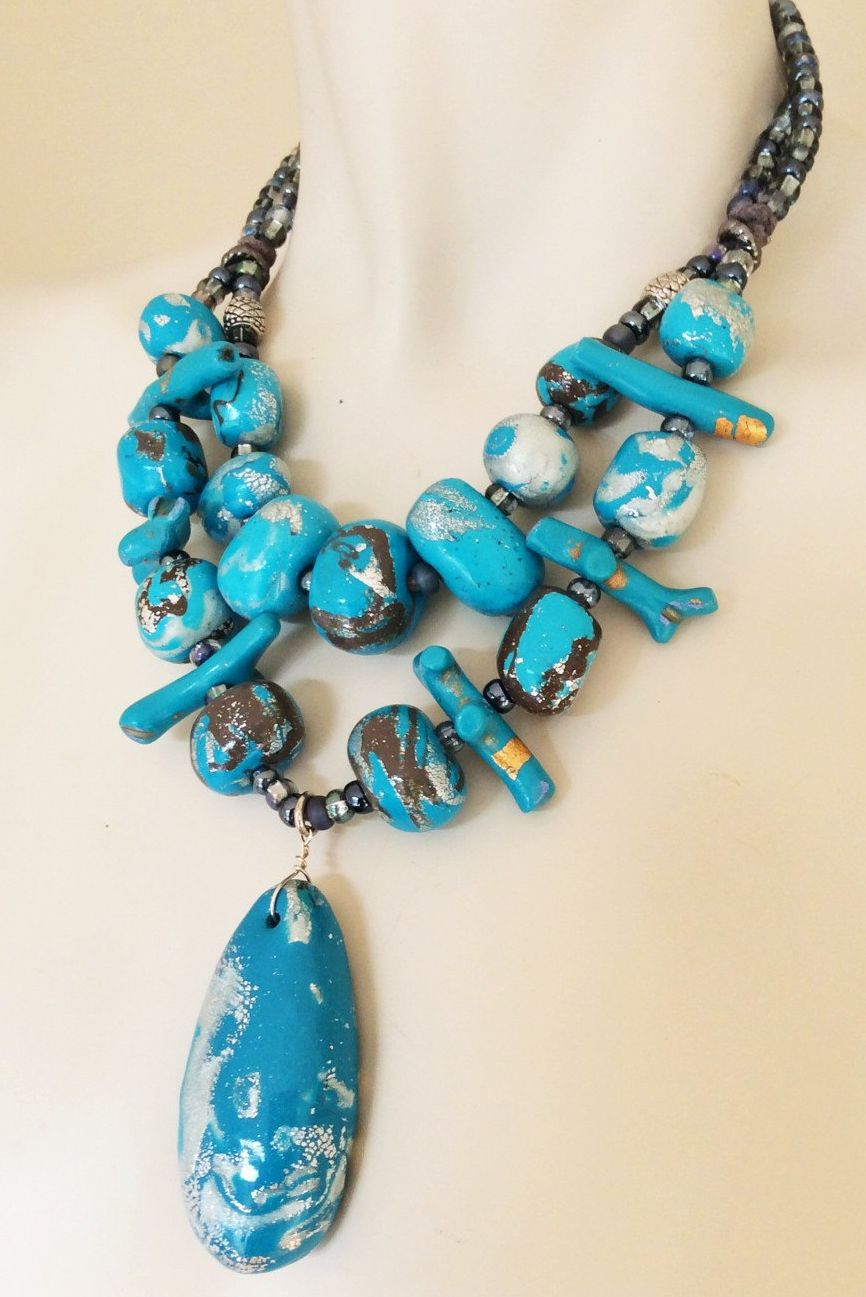 Turquoise Beaded Necklace Polymer Clay Turquoise Pendant Statement Necklace Blue And Silver Stone Jewellery Big Chunky Jewelry Turquoise Bead Necklaces Stone Statement Necklace Turquoise Pendant