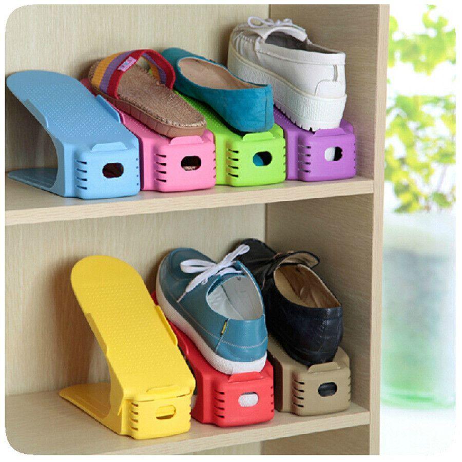 3pcs/lot Plastic Creative Shoe Rack Shoe Hanger Care Organizer Space Saving  Double