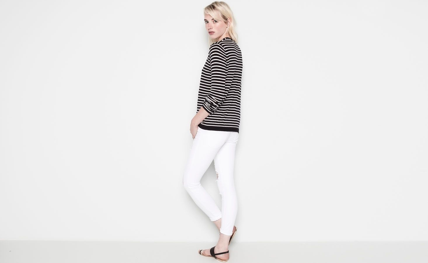 $499 Pull&Bear - mujer - jeans - jeans skinny rotos - blanco