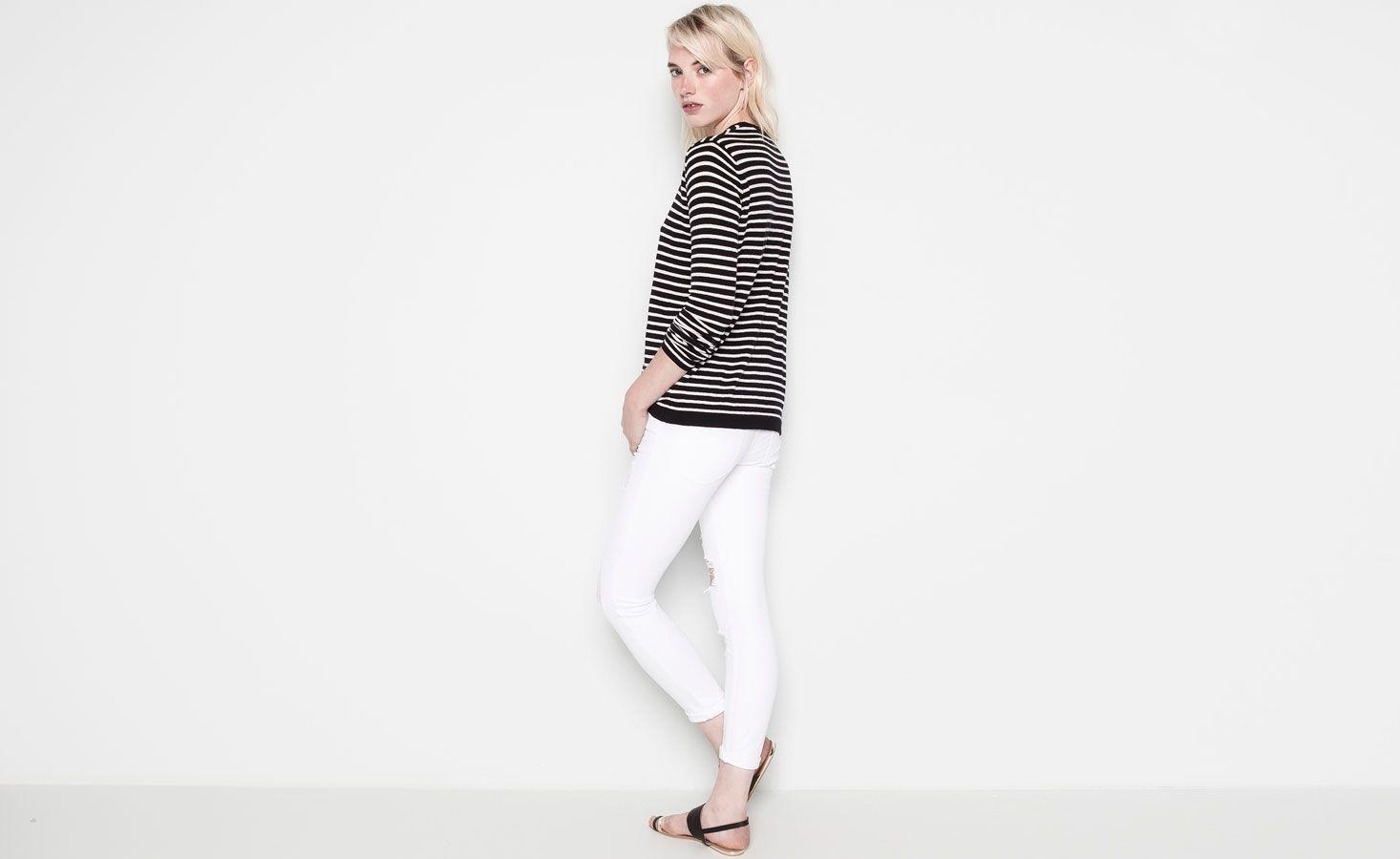 $499 Pull&Bear - mujer - jeans - jeans skinny rotos - blanco