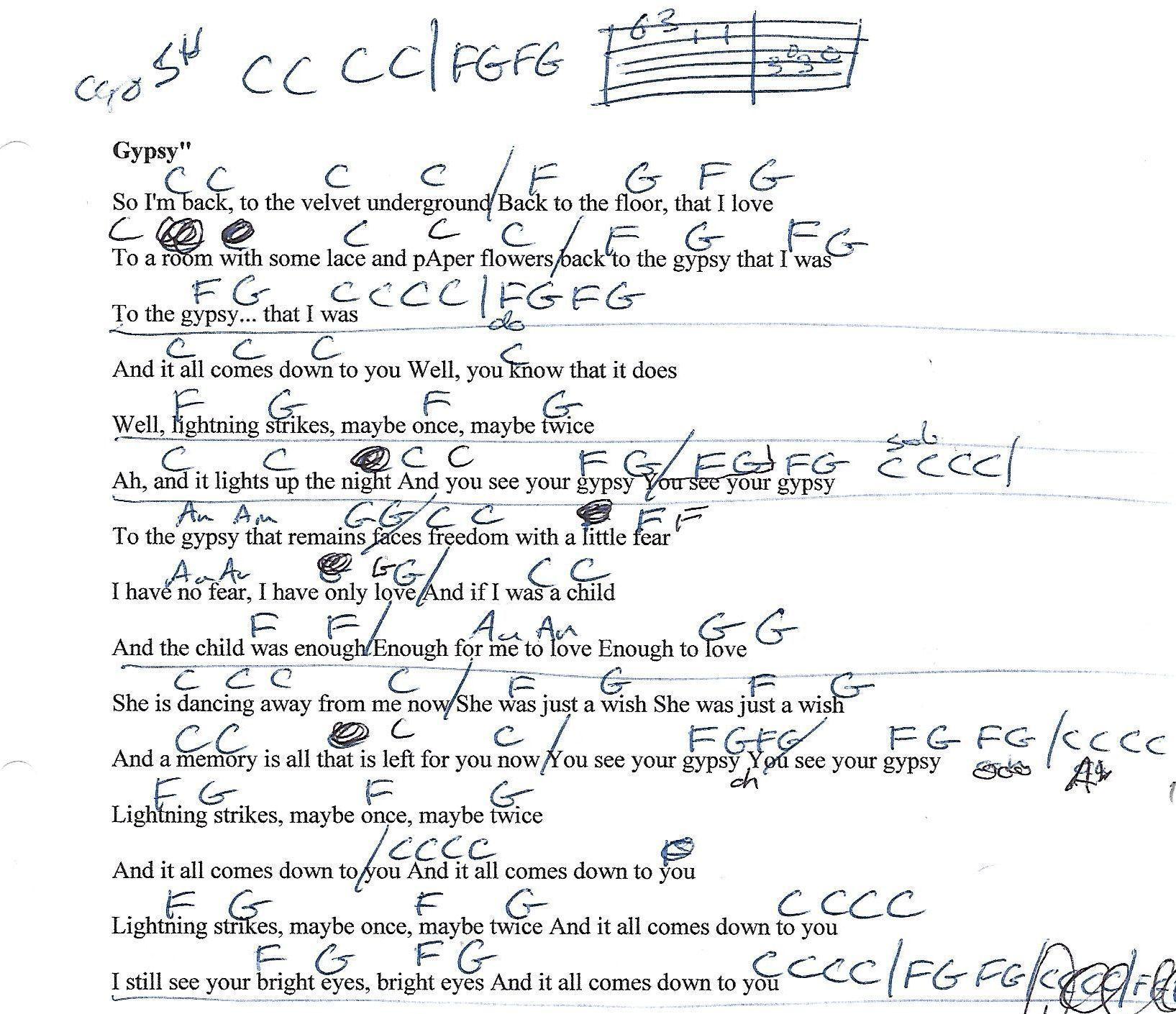 Gypsy Fleetwood Mac Guitar Lesson Chord Chart With Lyrics Guitar