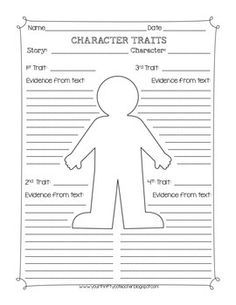 Character Traits Graphic Organizer Worksheet | genre story ...
