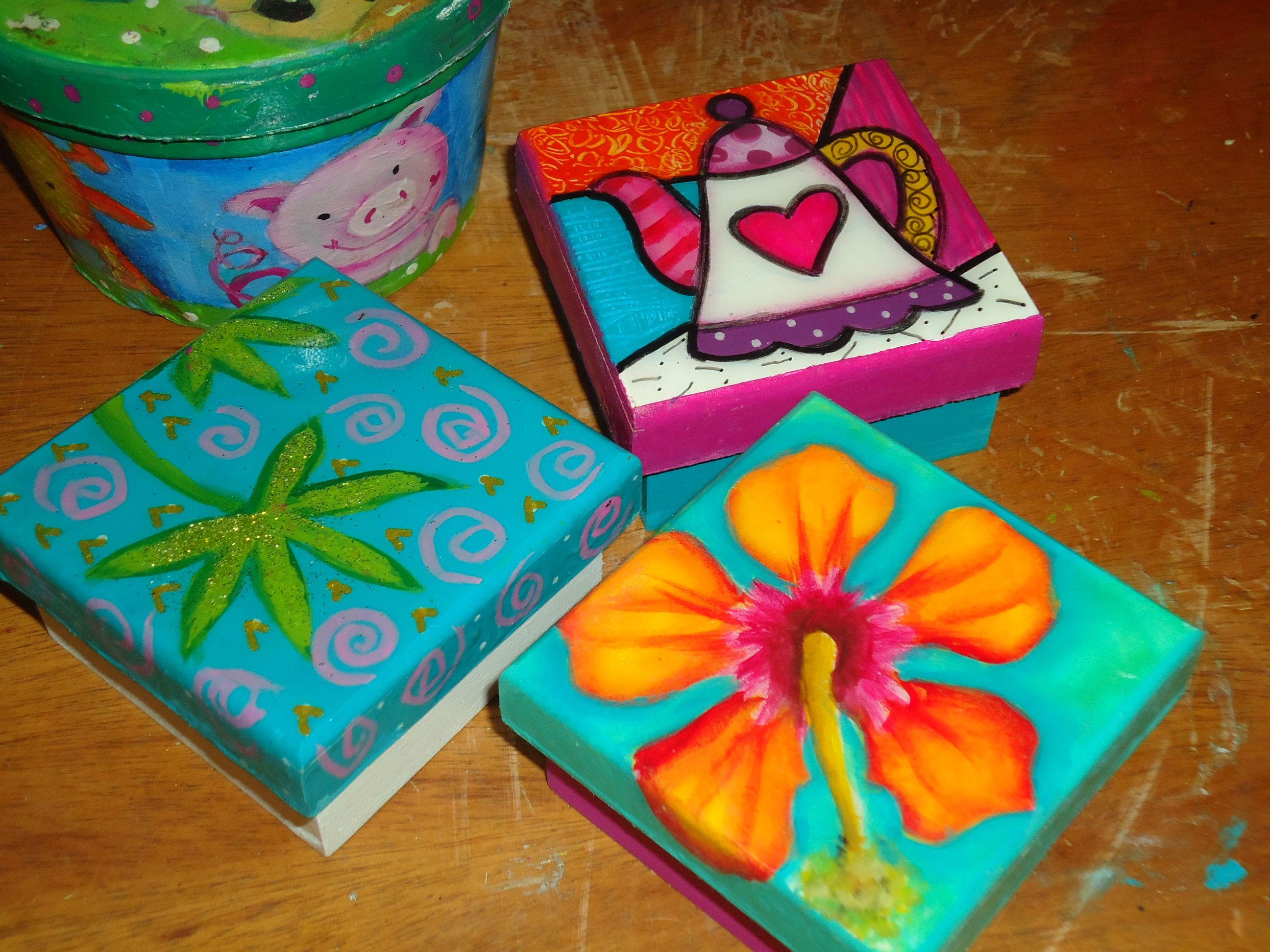 Cajas En Mdf Pintadas A Mano Cajas Pinterest Cajas Pintar Y  ~ Cajas De Carton Decorativas Grandes