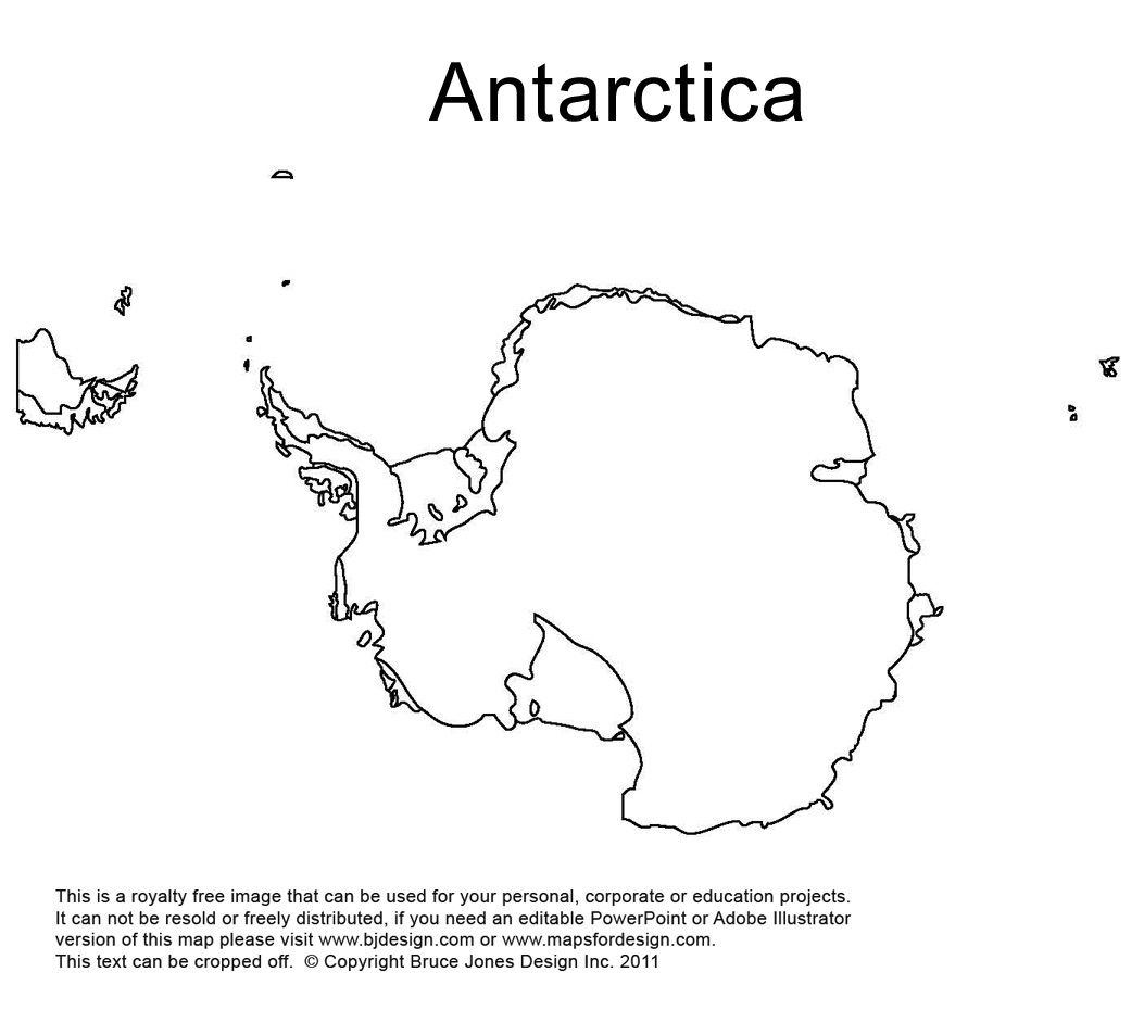 Antarctica South Pole Outline Printable Map Royalty Free World