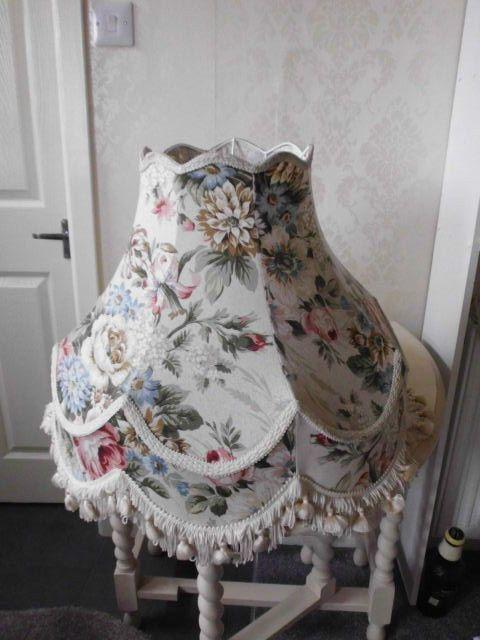 Vintage Large Floral Lampshade For Standard Lamp Tassels