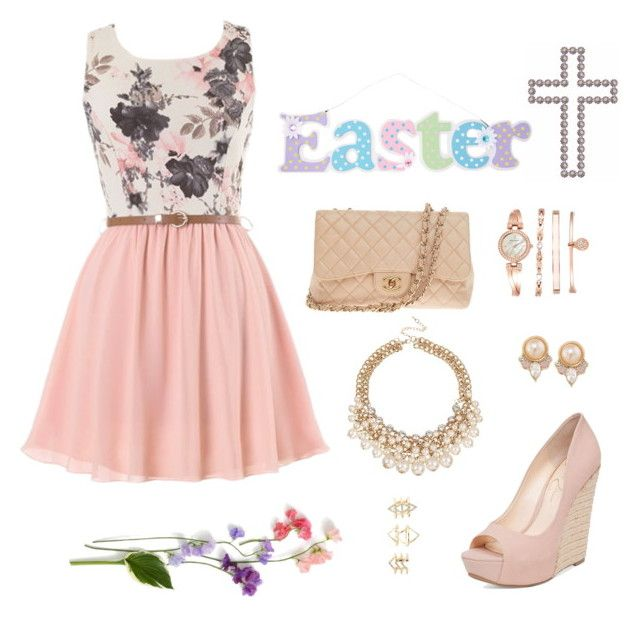 """""""Easter Sunday"""" by cori-felton ❤ liked on Polyvore featuring Jessica Simpson, Chanel, Anne Klein, Carolee and Charlotte Russe"""