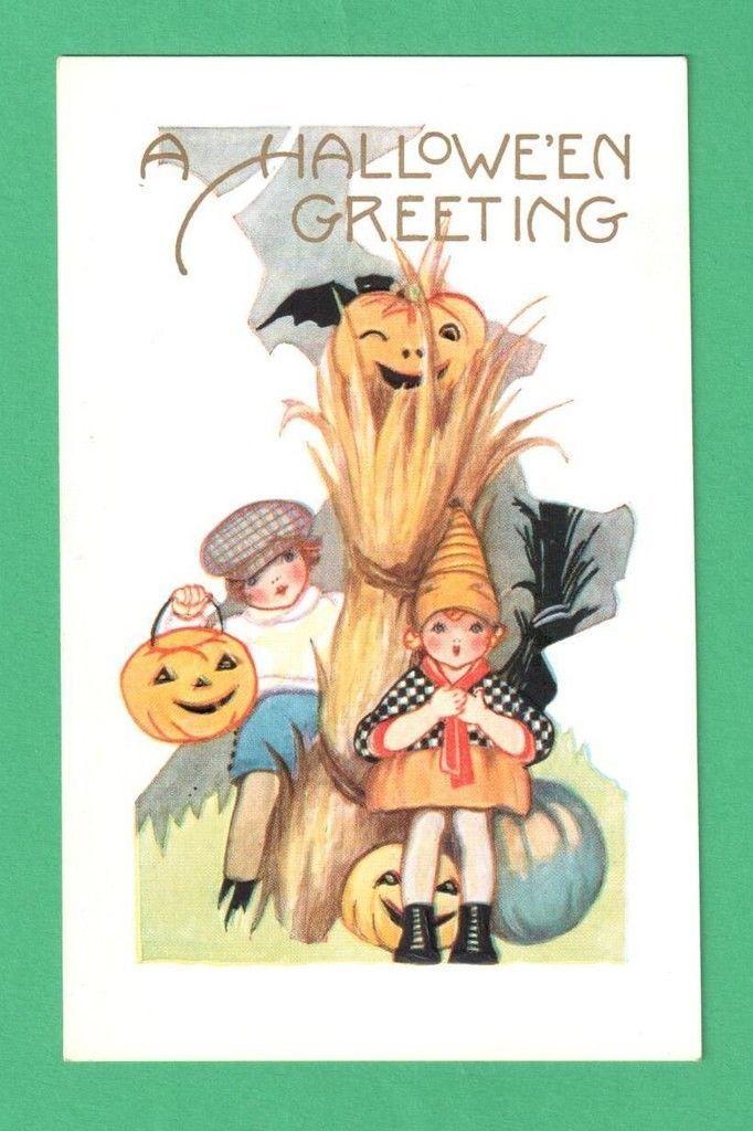 Vintage Whitney Halloween Postcard Children JOL Scarecrow Ghost - vintage halloween decorations ebay