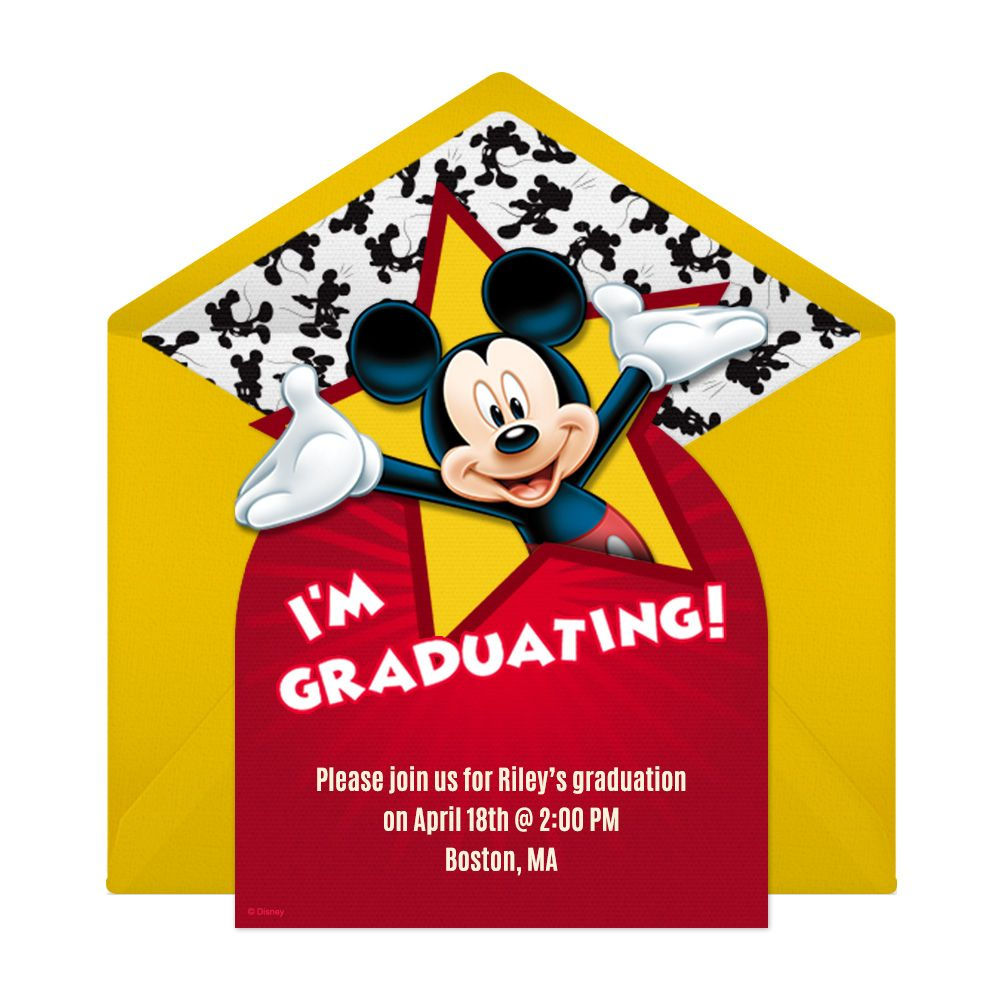 Mickey Graduation Party Online Invitation | Pinterest | Party online ...