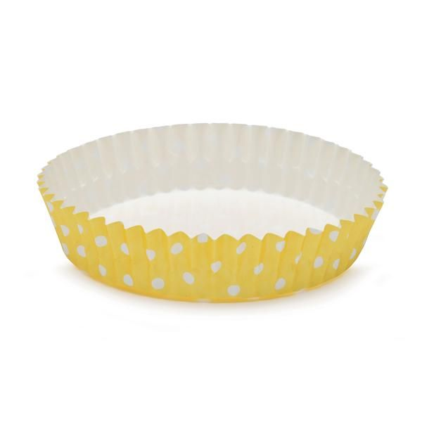 Welcome Home Brands 4 Ruffled Baking Cup Yellow Polka Dot With