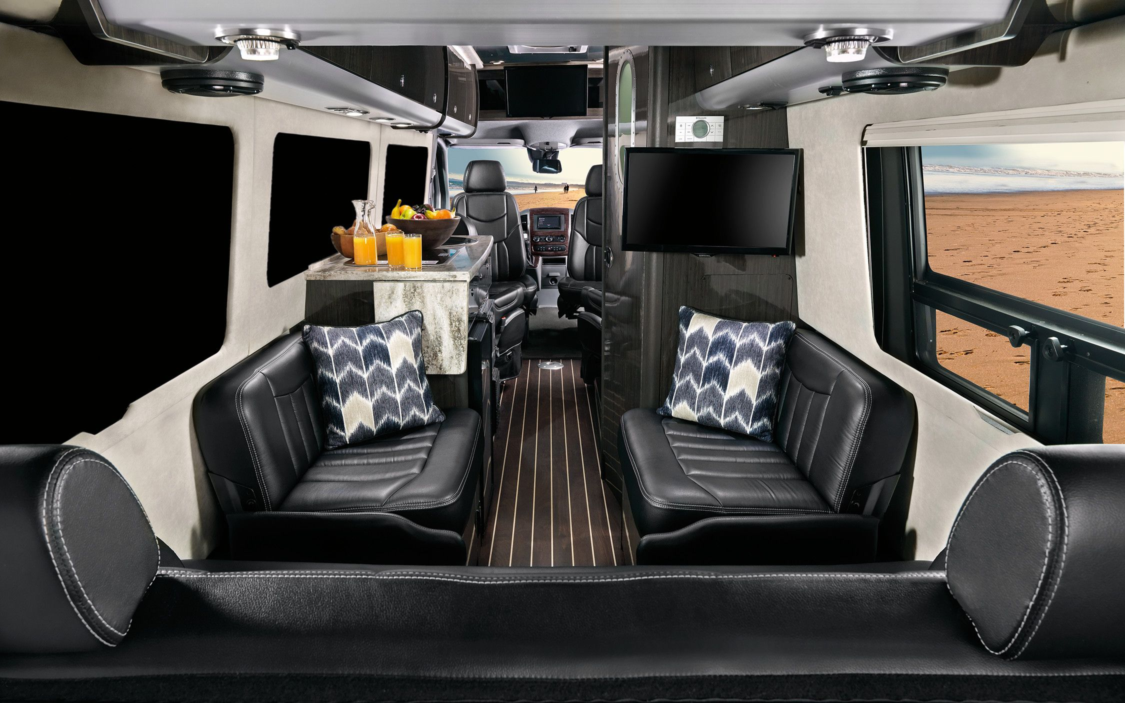 2016 Airstream Interstate Lounge Touring Coach Mercedez Benz Interior Black Ultraleather