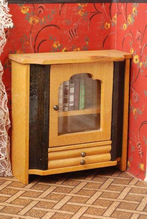 Wandplank Met Lade Zwart.Beukenhouten Miniatuur Boekenkast Met Glazen Deur En Laden Twee