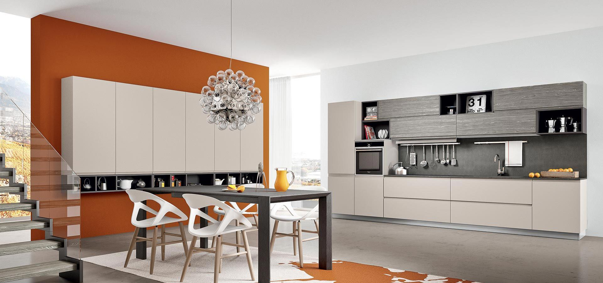 Cucina Moderna - Wega Finitura laccato ecrù opaco e laminato pino ...