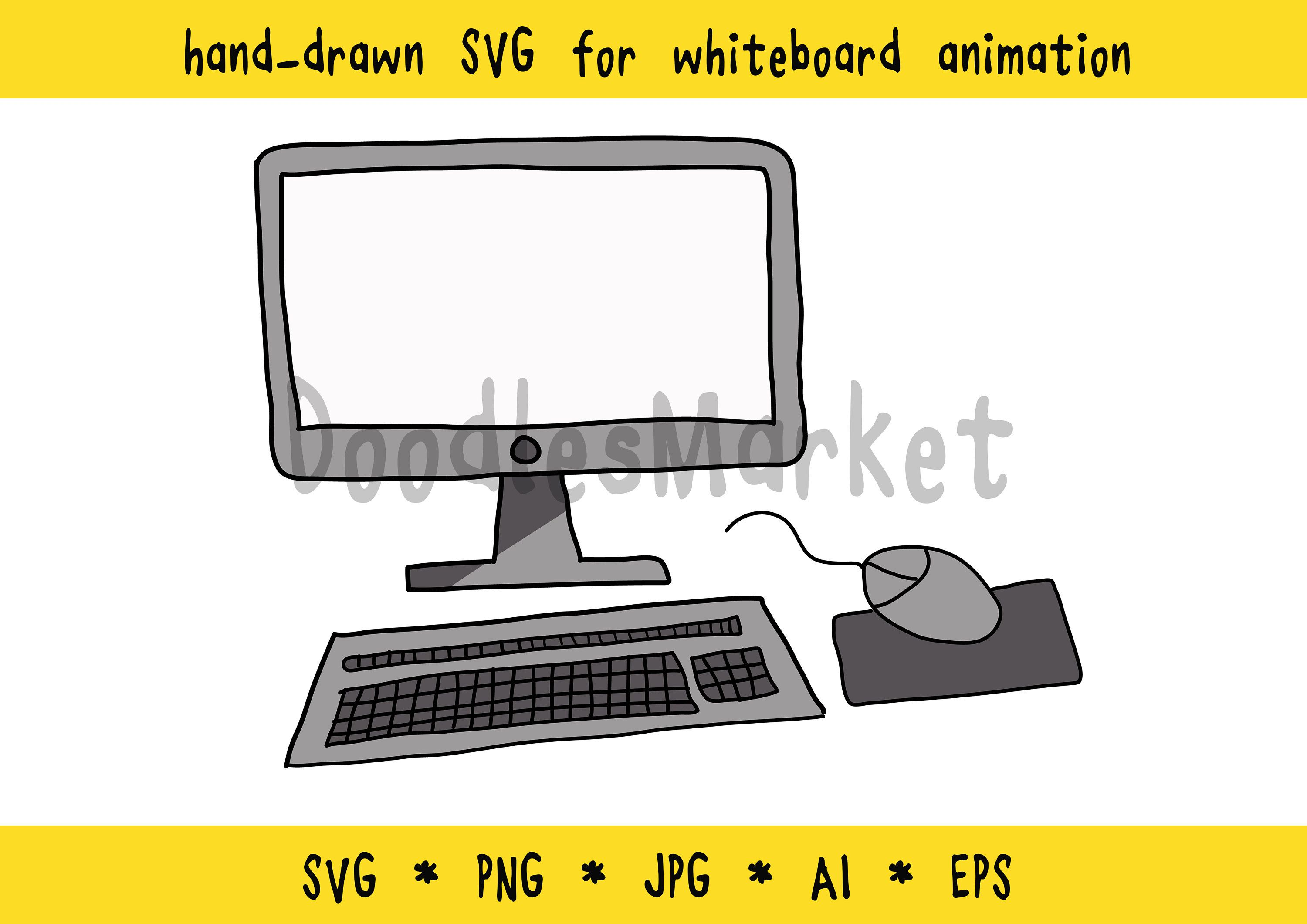For whiteboard animation handdrawn Computer desktop mouse