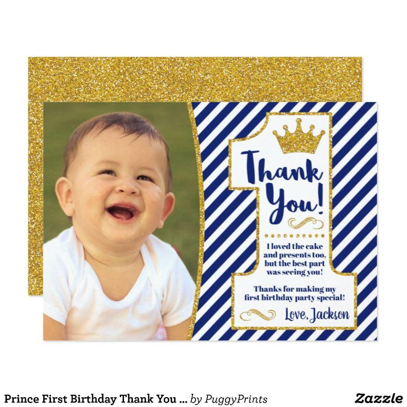 Prince First Birthday Thank You Card Royal Blue Zazzle Com In 2021 Birthday Thank You Cards Boys 1st Birthday Party Ideas Baby Boy 1st Birthday Party