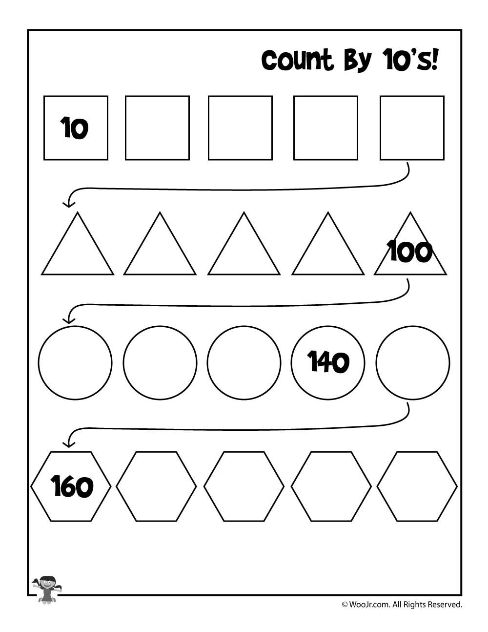 Count By 10 S Worksheet Woo Jr Kids Activities Skip Counting Worksheets Counting Worksheets Kindergarten Worksheets