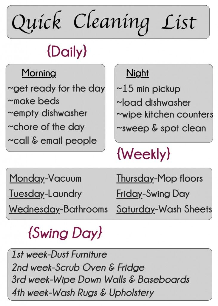 Quick Cleaning List-Printable
