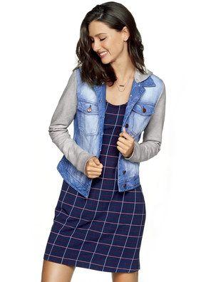 baf8d3f41 Jaqueta Jeans Feminina Hering Com Detalhes Em Moletom | Fashion ...