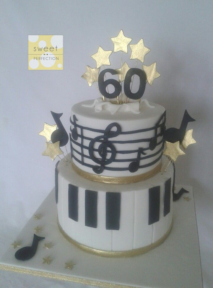 Two Tier 60th Birthday Cake Music Theme For A Musician White With Black Details And Gold Accents