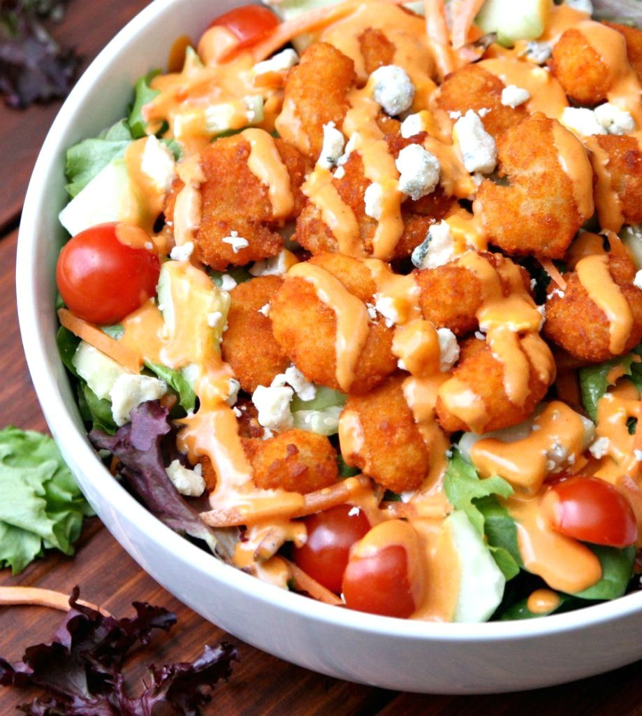 Buffalo Shrimp Salad Recipe full of Vegetables and Shrimp