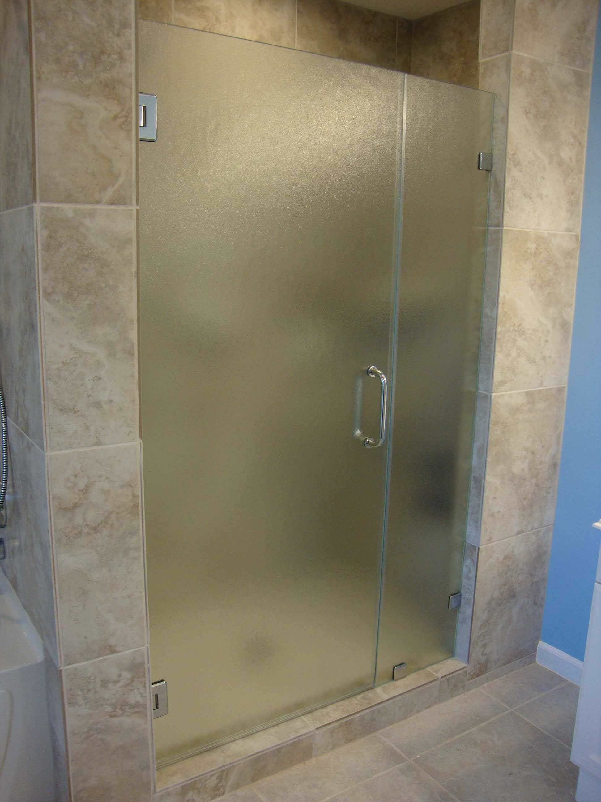 Bathroom shower doors frameless - Bathroom Mesmerizing Grey Ceramic Wall Bathroom Installation With Single Frameless Glass Shower Frosted Doors Pictures With Unique Stainless Door Handle In