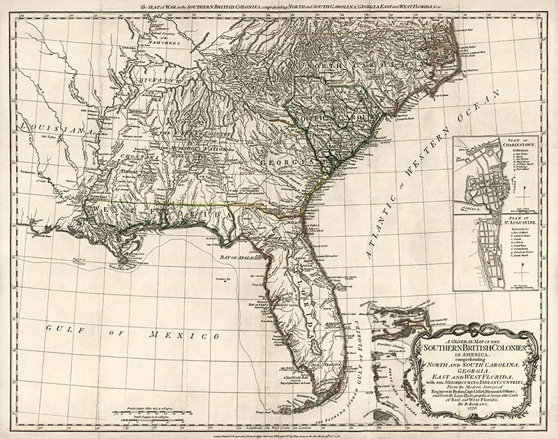 Antique Map Of The Southern American Colonies In Colonial - Map of the southern us