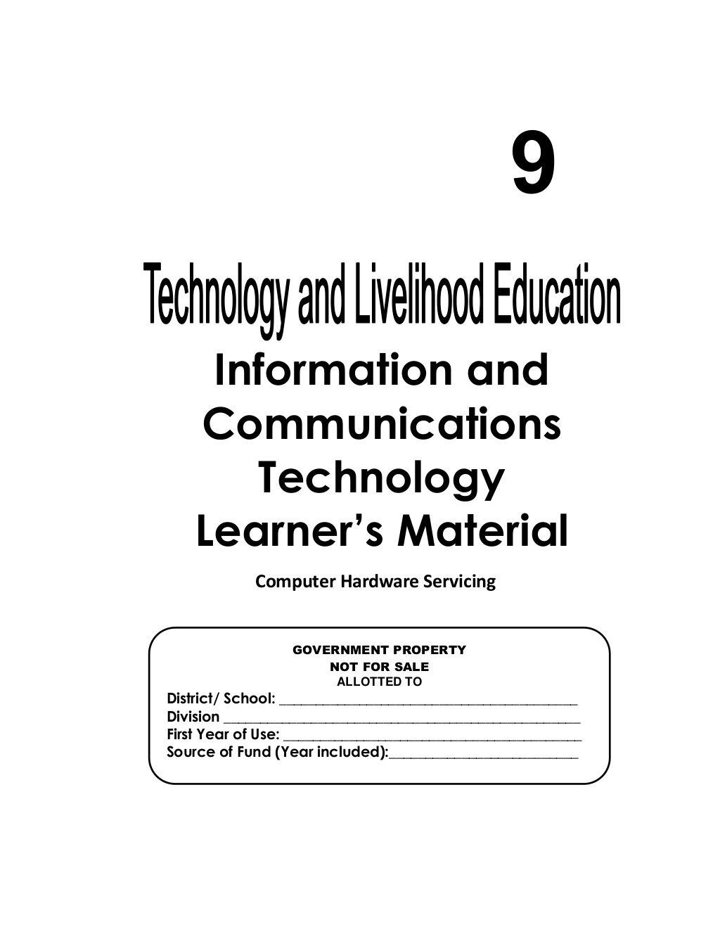 Pdf Print K 12 Module In Tle Ict Grade 9 All Gradings Information And Communications Technology Education Information Teaching Computers