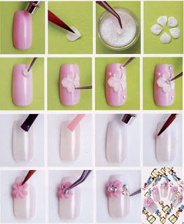 Step By 3D Acrylic Nail Art With Flowers