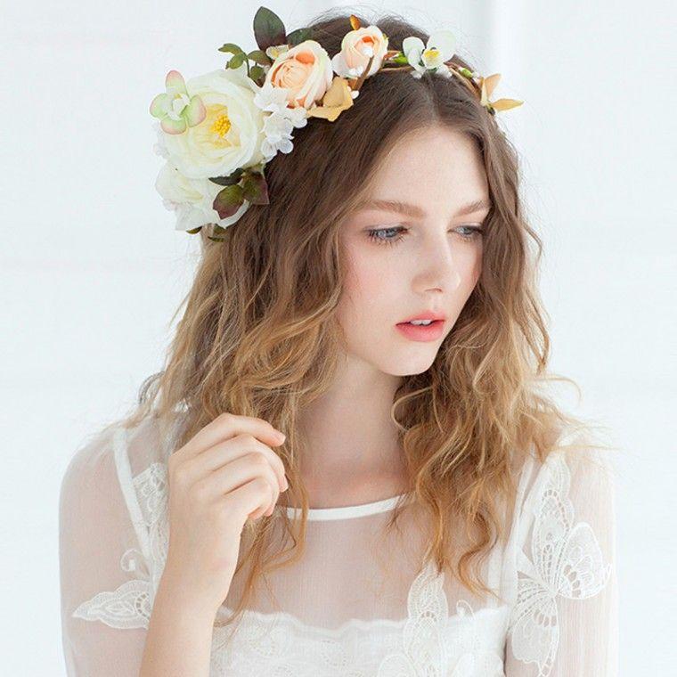 花冠 ハナカムリ オレンジ色 大輪の花 ウェディング撮影 花嫁 HP15063 価格 ¥8,748