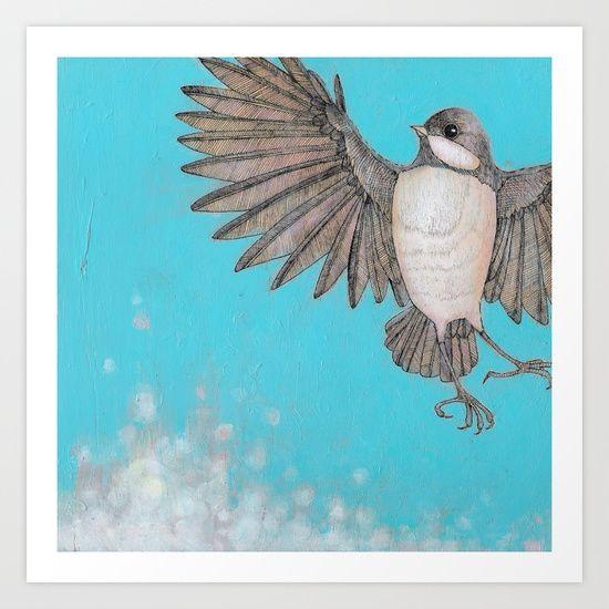 chickadee flies across the cerulean blue sky Art Print by ... - photo#14
