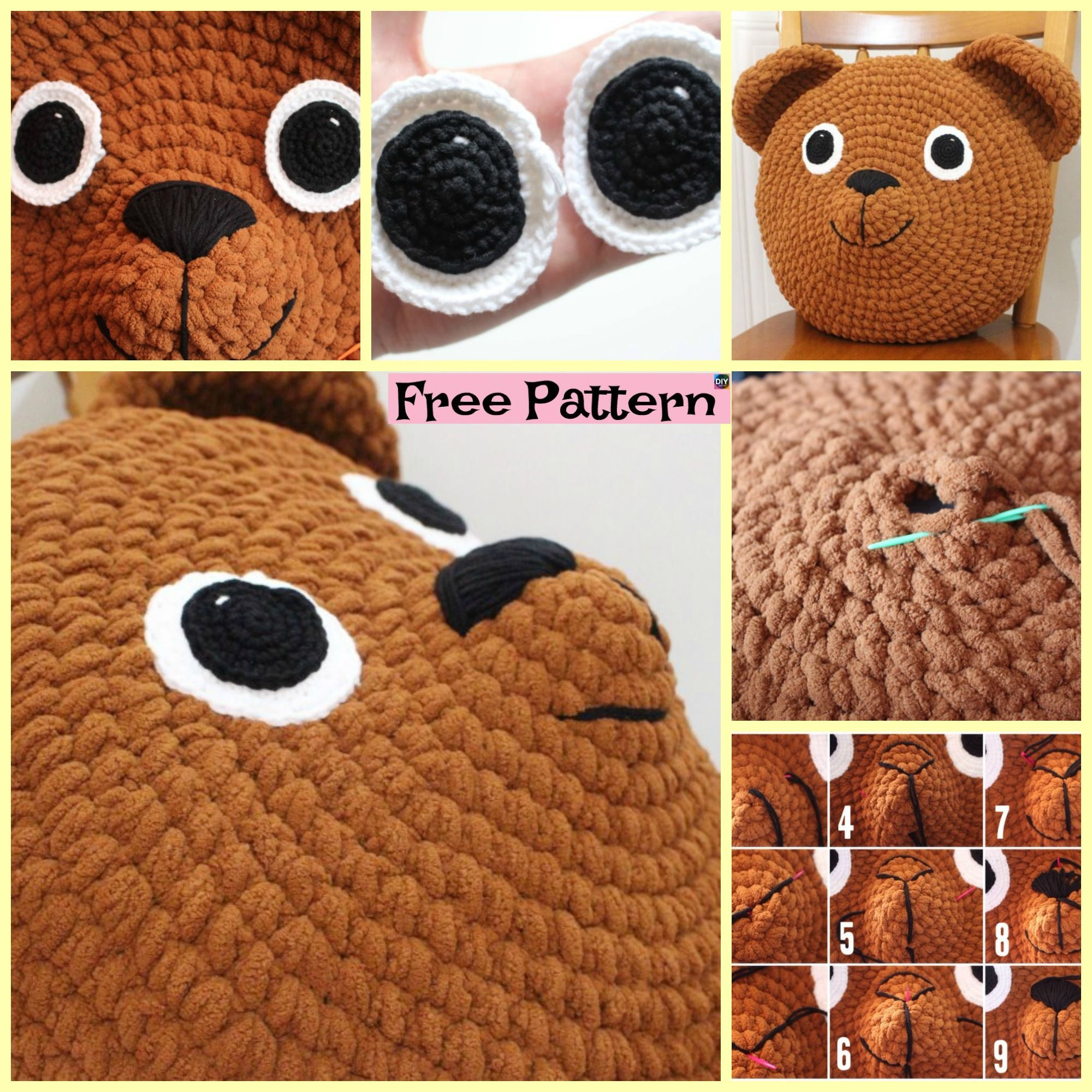 Teddy CROCHET PATTERN Teddy Bear Cushion Pillow Cover 4ply DMC for sale  online | 2000x2000