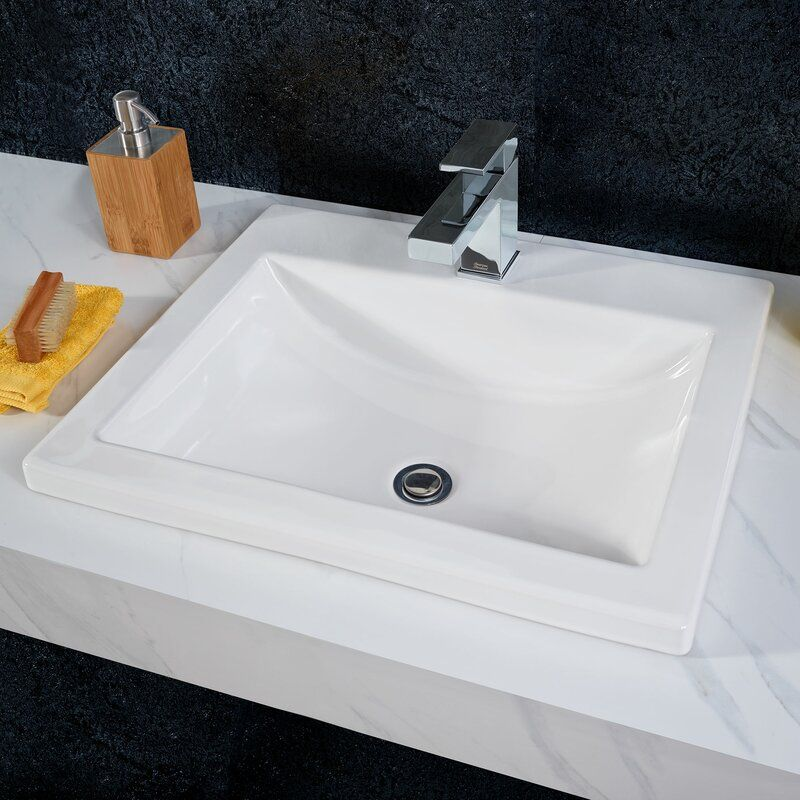 Jacuzzi Anna Farmhouse White Drop In Rectangular Bathroom Sink With Overflow Drain 22 05 In X 16 93 In Lowes Com Farmhouse Bathroom Sink Drop In Bathroom Sinks Rectangular Sink Bathroom