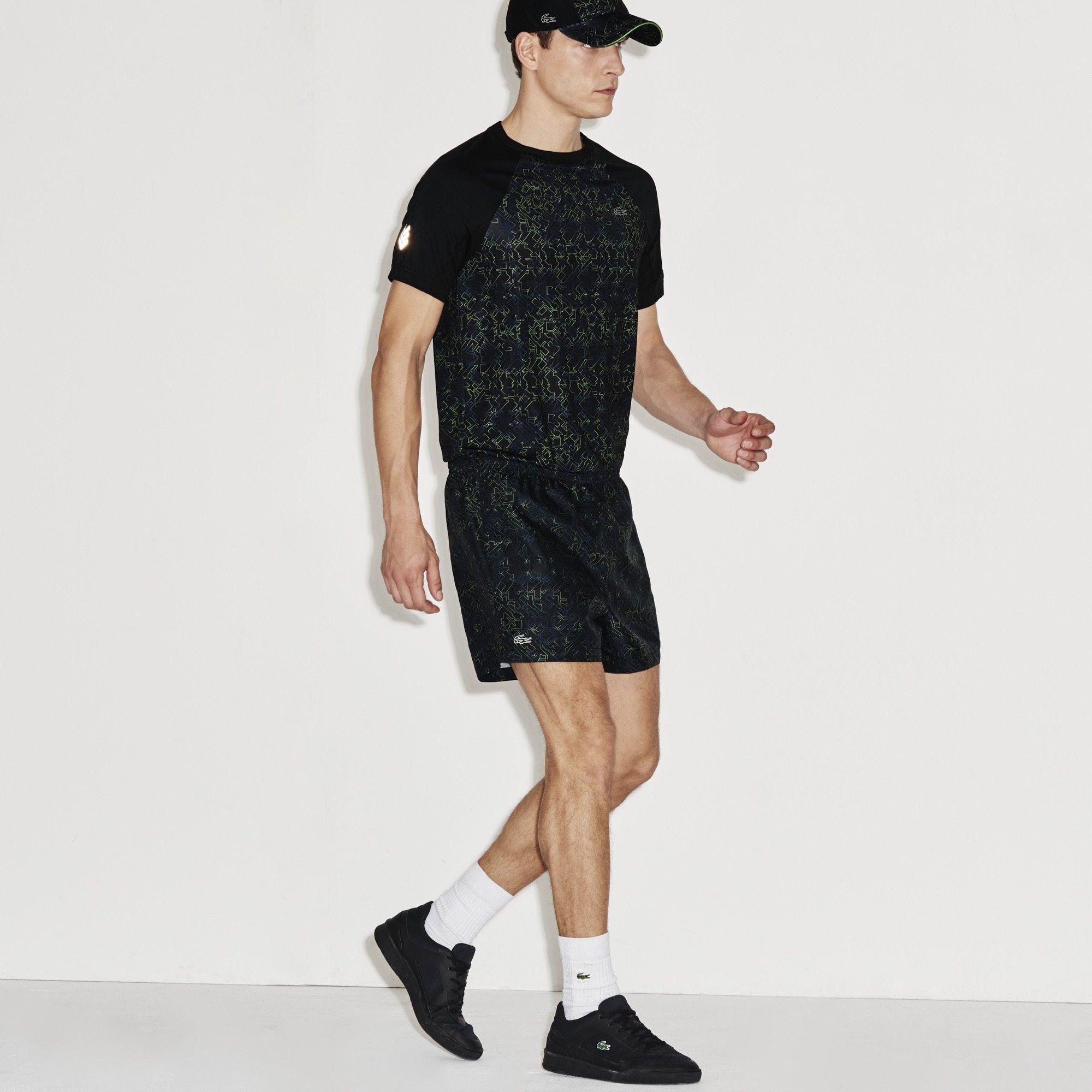 63df2dca LACOSTE Men's SPORT Stretch Print Tennis Shorts - BLACK/FRANCE ...
