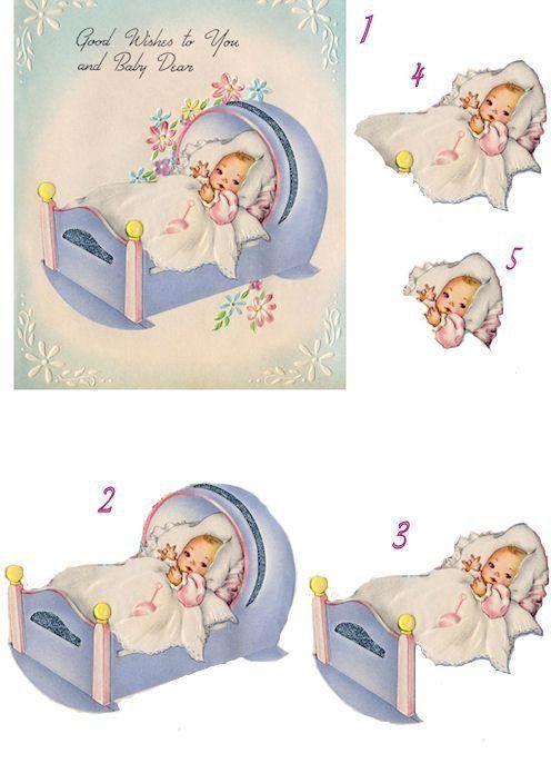 New Baby Girl simple feuille d/'or carte de vœux Qualité Cartes