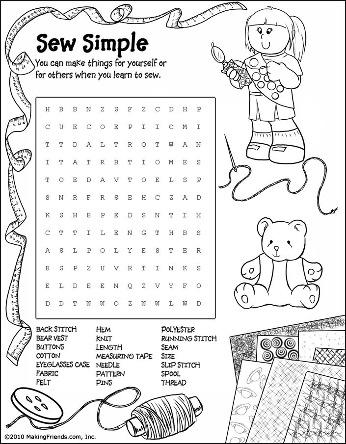 girl scout sewing junior coloring Junior Girl Scout Word Search
