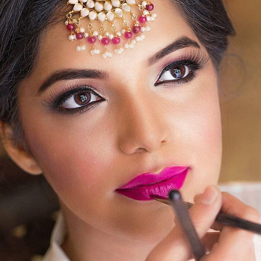 Image result for hot pink lip bride