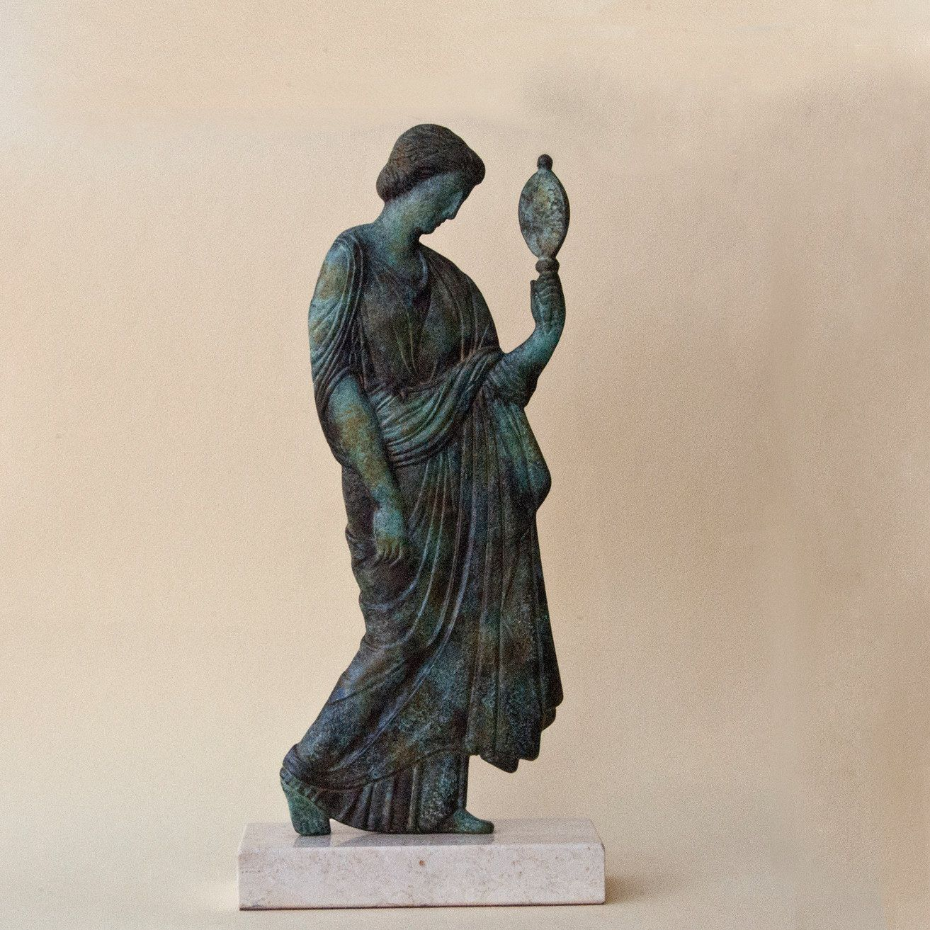 """Bronze Sculpture Special Patina 19/"""" Tall Museum Quality Artwork Marble Base Sale"""